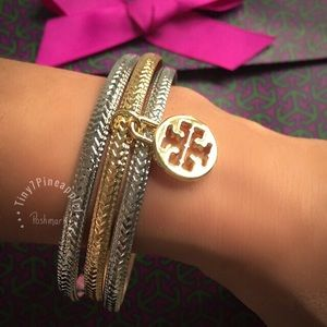 ✅🆕 TORY BURCH LOGO CHARM SILVER AND GOLD BANGLES